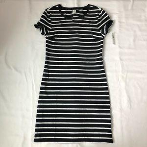 Black and White Stretchy Striped Dress